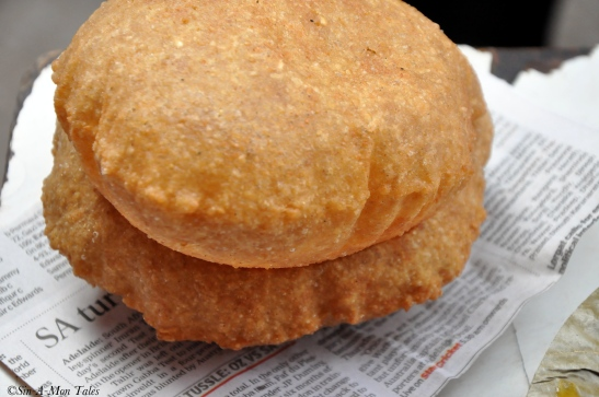 Bedmi Poori - slightly spicy with a little dal filling inside