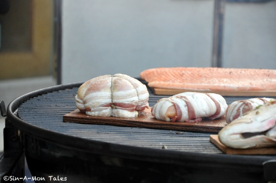 Bacon wrapped chicken breasts - goodness being grilled :)