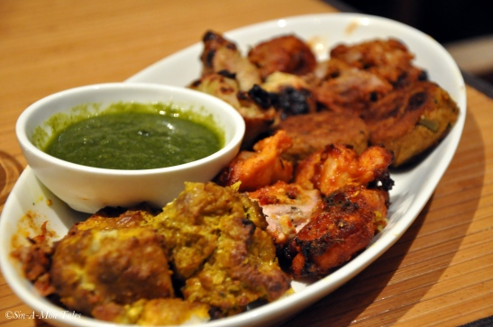 Kebabs from the Indian grill - the chicken was exceptional