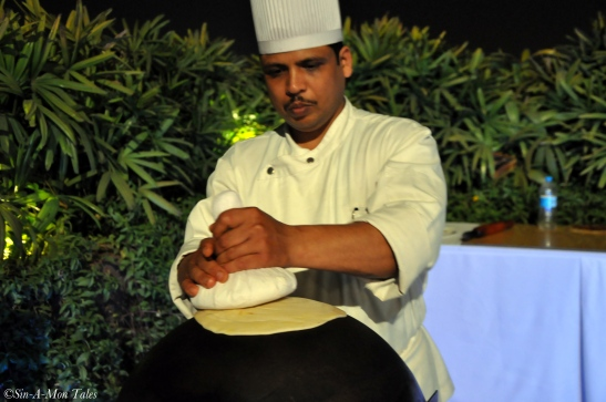 Chef making the ulte tawe ka parantha