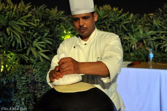 Chef making the ulte tawe ka parantha
