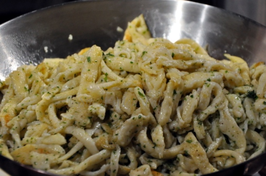 Spatzles sauteed with brown butter and parsley