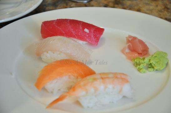 Sushi -Yellowtail, Prawn, tuna and Salmon... pretty good for a buffet
