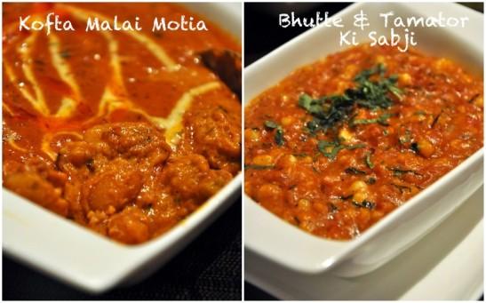 Kofta Malai Motia - beautiful kofta, not so good curry  Bhutte Aur Tamator Ki Sabji - as a dish in itself not bad but the problem here was both the gravies looked and tasty the same