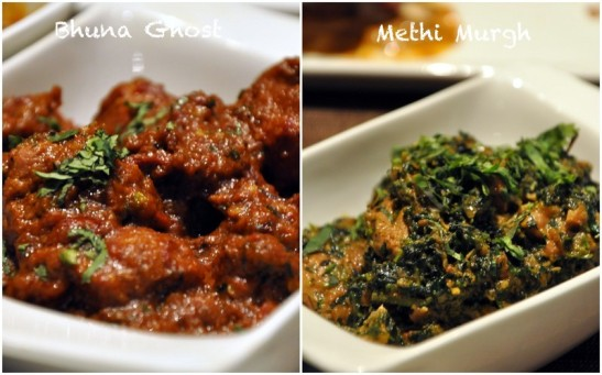 Bhuna Gosht - good gravy, well cooked meat Methi Chicken - very very very good dish again