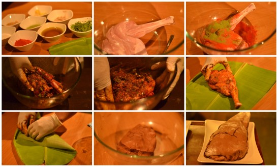 The chef said that they encourage people to try their hands at cooking, we did a little marinating of the lamb, wrapped it in a banana leaf and then in a clay sheet.. Pic Credit - Swati