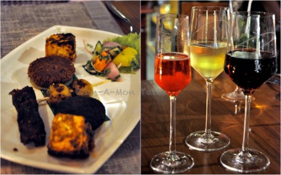 The vegetarian starters, I quite like the aloo along with the wines we had that evening. I am big rossette fan but all wines were good