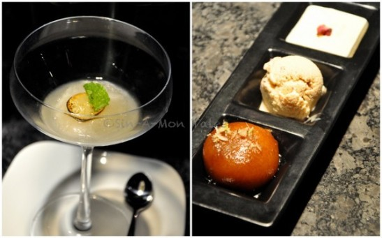 """Desserts to be these were the star of the day. On your left is a little sorbet of mint, pepper and lime more of a palate cleanser though I could have have this as the dessert too  On your right is a trio, the main dessert - gulab jamoon (one of the best I have had in bangalore), a rose ice cream, I am big ice cream person and bigger rose person so this hit all the right notes. And the third was my dear friends """"garlic kheer"""" now this was a great tasting kheer, one of the best I have had may be but garlic I felt was the stun factor, I got no garlic flavour whatesoever but a great kheer indeed"""