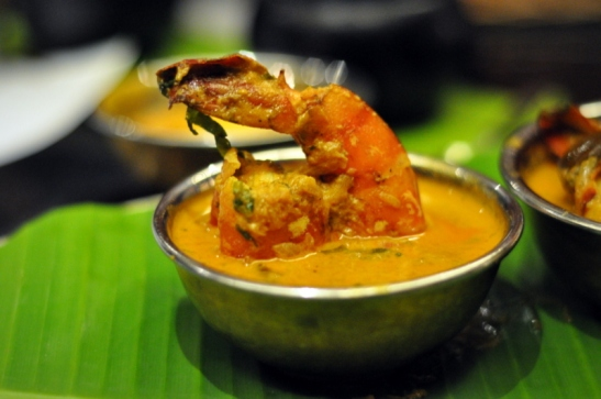 Vypeen Chemmin Piralan - Tiger Prawns in a hotly spiced marinade, cooked in the shell. A speciality of the Fisher's island of Vypeen Kerala