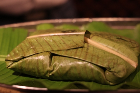something that the chef surprised us with since when he spoke about it we were blown away. Its a typical travel meal of that area. Ghee rice wrappes with chicken curry in a banana leaf. When eaten after ours is delightful with the aromas and flavours PS: photo credit for this pic to swaps
