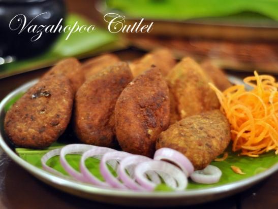 Vazahapoo Cutlet - Breaded patties made of banana flower, sweet potato and local spices