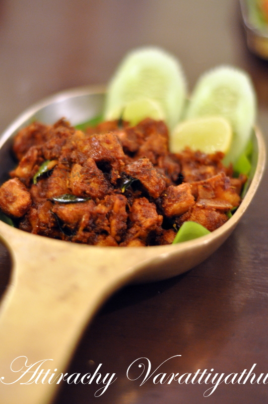 Attirachy Varattiyathu  Lamb dry cooked with coconut slivers and a spice mix of shallots. My dish for the day