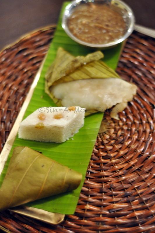 Desserts  Vttayappam - Steamed rice flour cake  Ila ada - Steamed rice flour cakes stuffed with coconut gratings and jaggery  Mulayari Payasam - Bamboo rice cooked in coconut milk and jagery Kumpal Appam - Jackfruit and rice flour mixed with jaggery and wrapped banana leaves