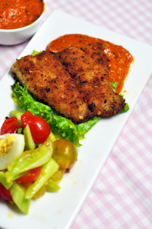 Herb Crusted Fish with Cape Gooseberry sauce