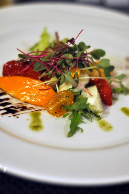 Mango Caprese Salad - Brilliant twist on the standard, very well executed. The radish micro greens on the top added just the right punch