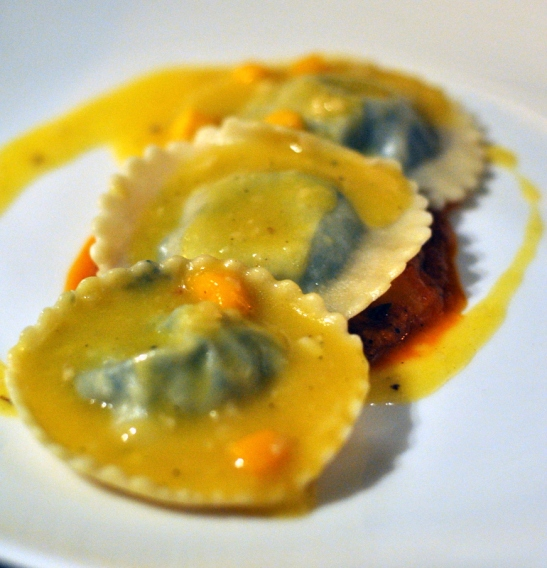 Spinach, ricotta and Raw Mango Ravioli. Inspired and well executed, also check last year's ravioli in the album. This was good but I was dreaming of the last year's