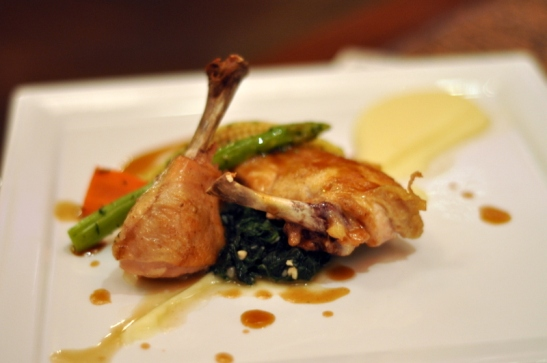 Chicken with olive potato mash, garlic baby spinach, young vegetables finished with a pan glaze. Loved the mash potatoes
