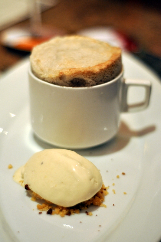 Banana Souffle served with sesame ice cream and chocolate soil. To me the souffle felt like baby food but the sesame ice cream was stellar