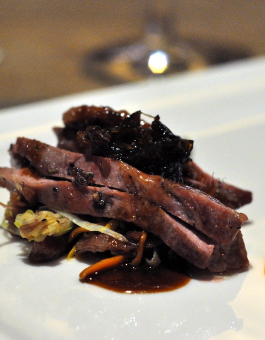 Duck Breast with onion jam and vegetables