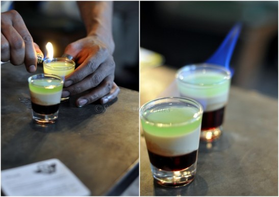 A shot in between drinks always works well ;) This one is called TriShot and has pomegranate, amarula and Absinthe. The shot in then flamed. Fun and potent this one