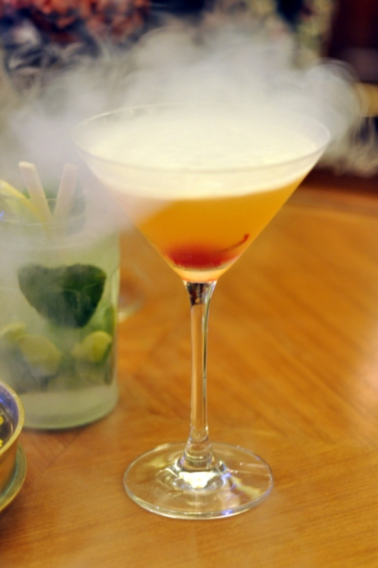 Earl Grey Martini with the special effects from liquid nitrogen being infused