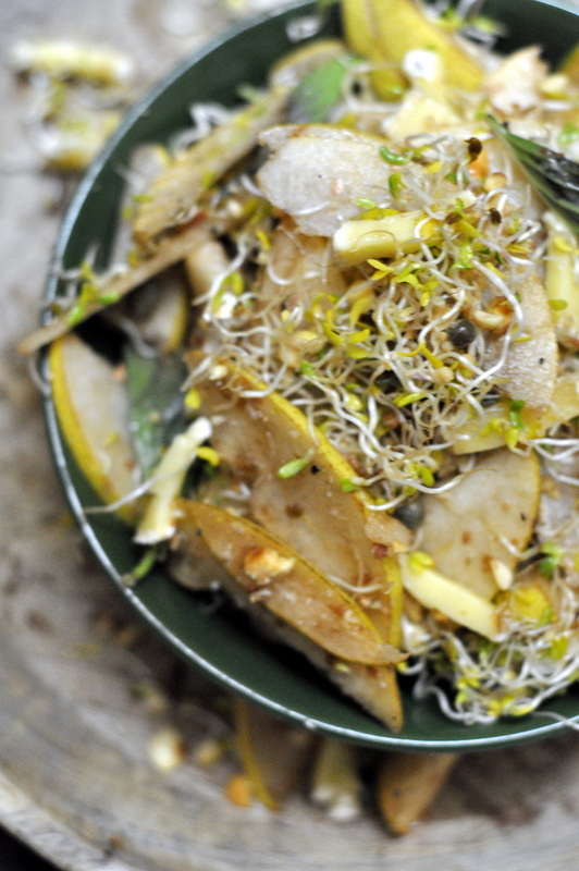 Pear and alfa alfa sprouts salad