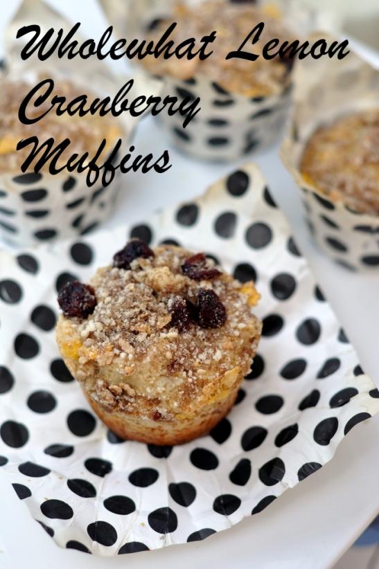 whole wheat lemon cranberry muffins
